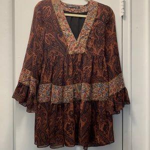 Zara burgundy embroidered silk dress